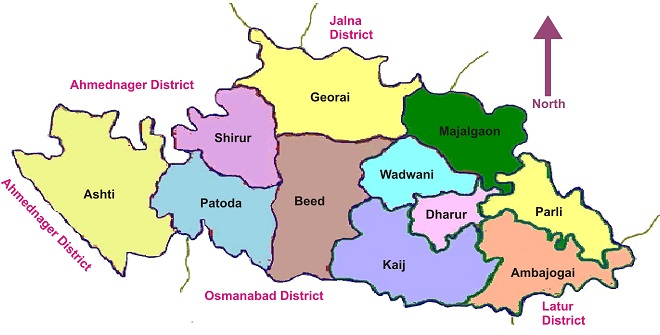 Beed District Map InMarathi