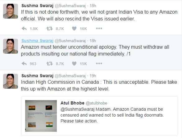 Sushma Swaraj - Amazon Twitter marathipizza