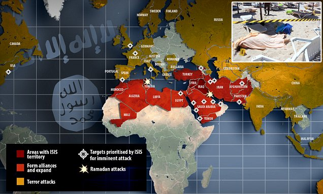 ISIS territory and thread global map