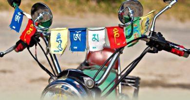 Prayer Flags on Bike 2 Inmarathi