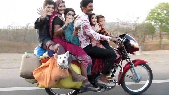 family on one bike Inmarathi