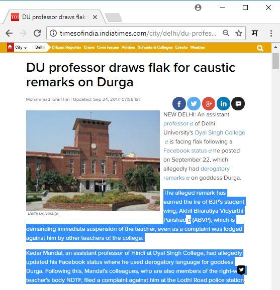 kedar kumar mandal durga mata derogatory comment times of india news marathipizza