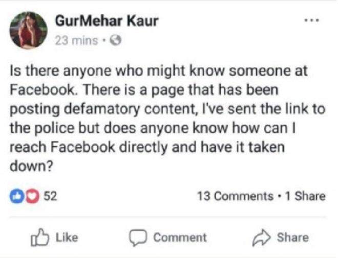 gurmehar kaur against freespeech marathipizza