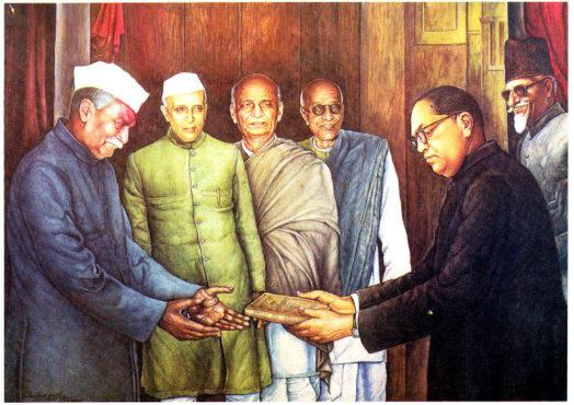 babasaheb giving constitution inmarathi