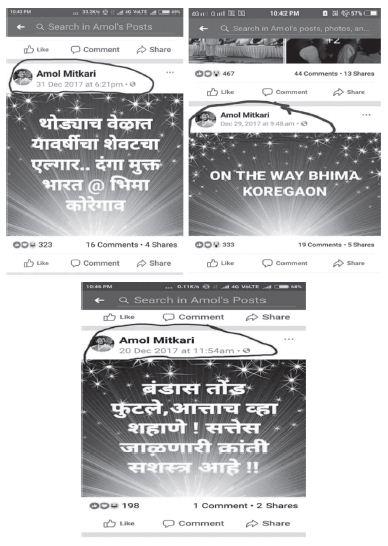 Koregaon Bhima Report 36 - amol mitkari facebook posts inmarathi