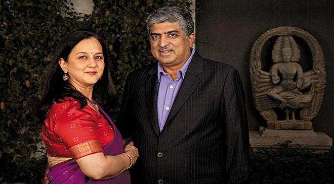 nandan nilekani and wife rohini InMarathi