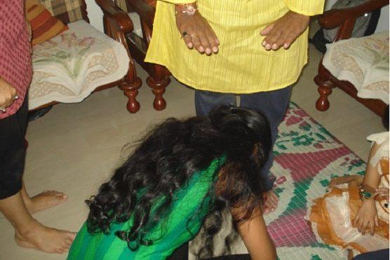 Touching feet Inmarathi