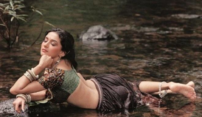 Madhuri bathing