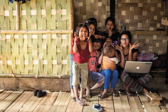Akshatha with kids in Thingdol Assam
