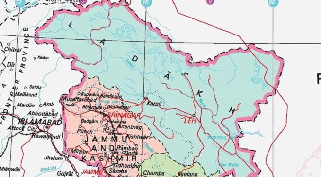 jammu-kashmir ladakh new map inmarathi