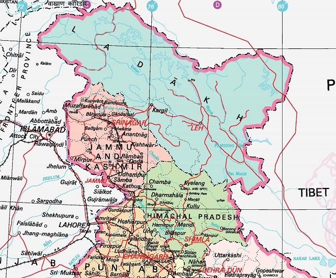 jammu kashmir ladakh new map inmarathi