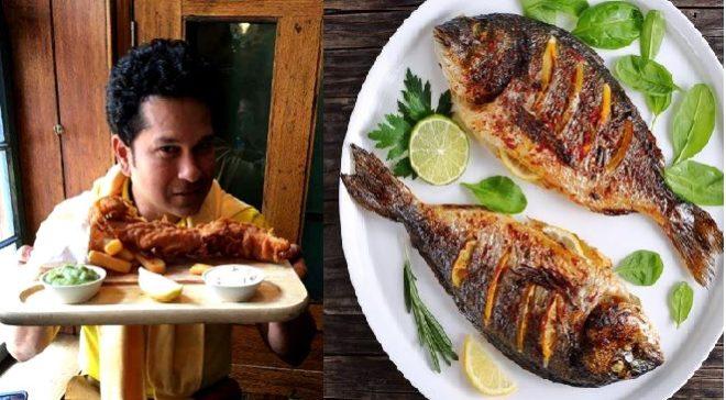 sachin with fish inmarathi
