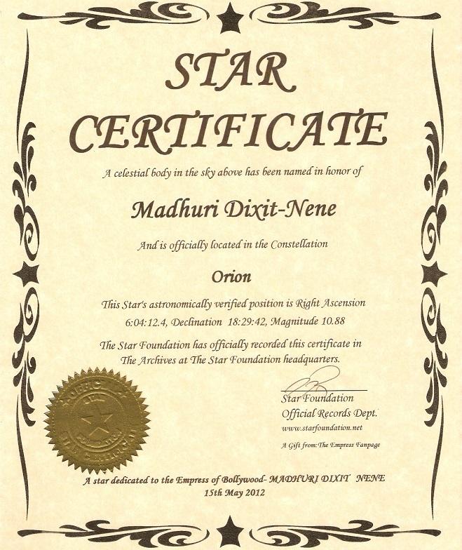 madhuri dixit star certificate InMarathi