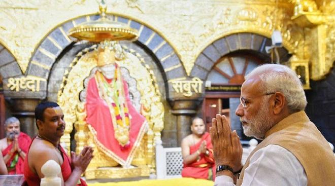 modi in temple inmarathi