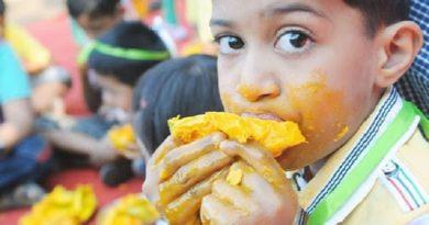 boy eating mango inmarathi