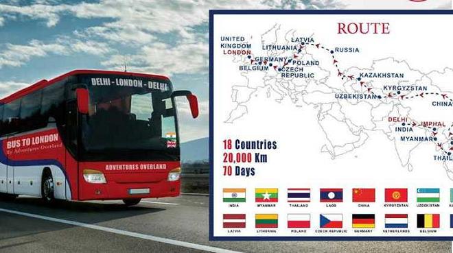 delhi london bus route inmarathi