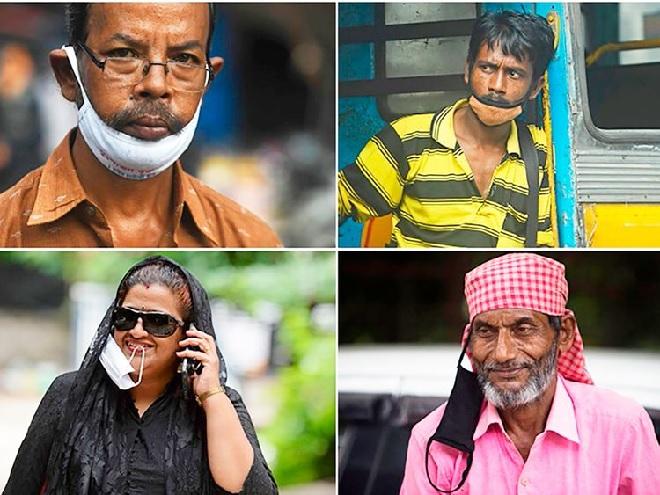 indians not using mask properly inmarathi