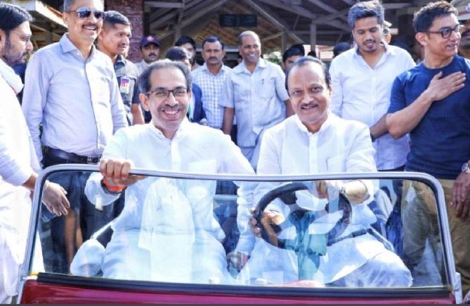 ajit pawar and uddhav thackeray inmarathi