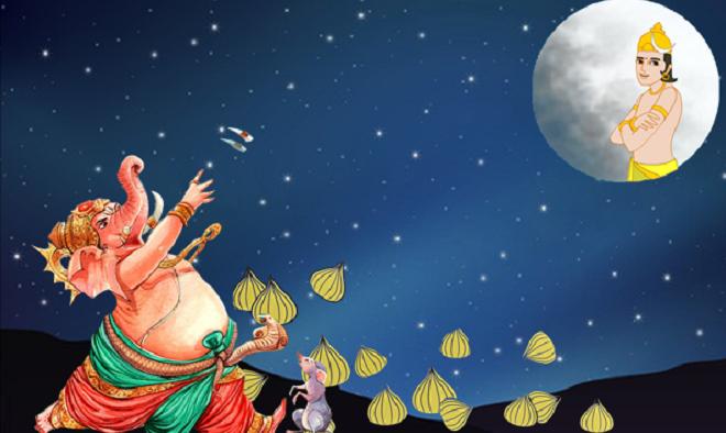 ganpati and moon inmarathi